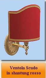 ventola scudo in shantung rosso